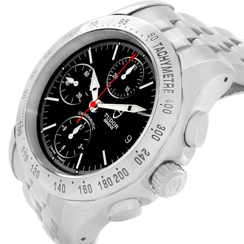 7396 Tudor Chronoautic Stainless Steel Black Dial Mens Watch 79380 SwissWatchExpo