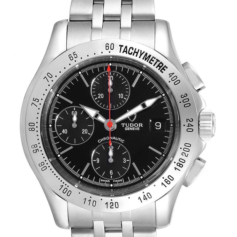 Tudor Chronautic Stainless Steel Black Dial Mens Watch 79380 SwissWatchExpo