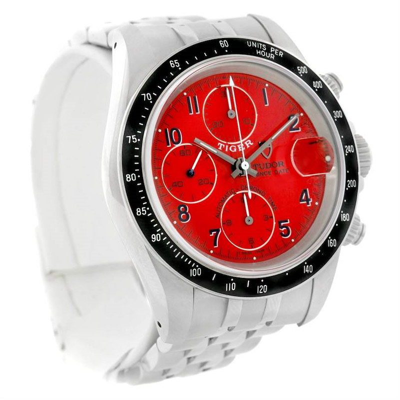 Tudor Tiger Prince Date Chronograph Steel Red Dial Watch 79260 SwissWatchExpo
