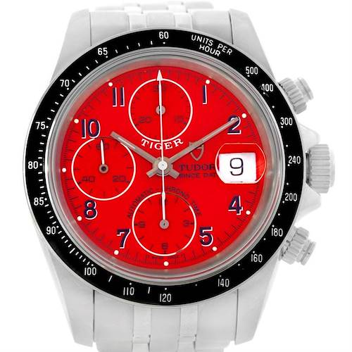 Photo of Tudor Tiger Prince Date Chronograph Steel Red Dial Watch 79260