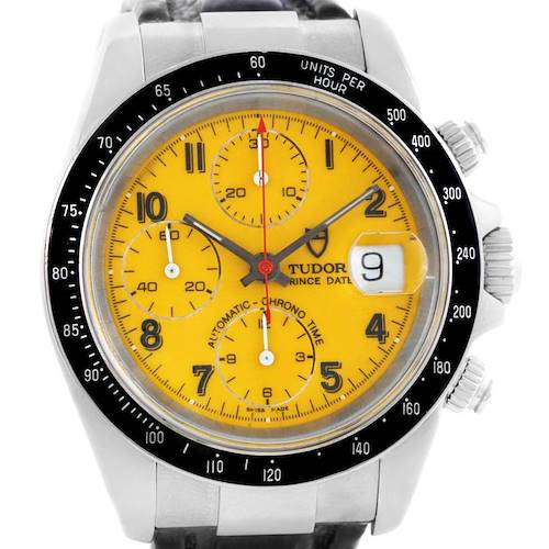 Photo of Tudor Tiger Prince Date Chronograph Yellow Dial Steel Watch 79260