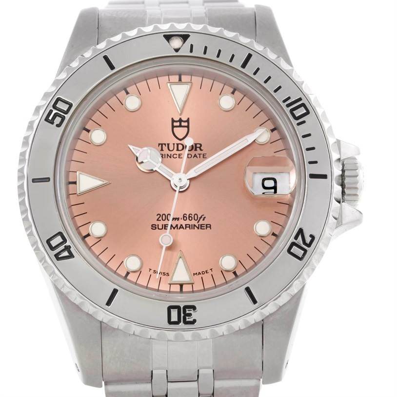 9055 Tudor Submariner Prince Date Salmon Dial Steel Watch 75190 SwissWatchExpo