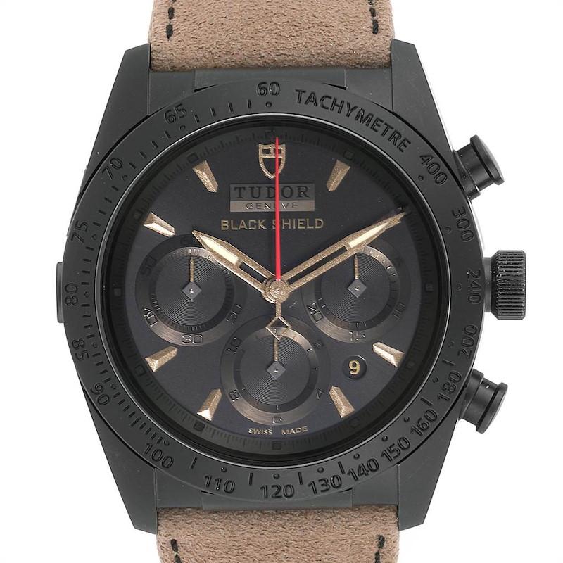 Tudor Fastrider Blackshield Alcantara Strap Ceramic Watch 42000CN Unworn SwissWatchExpo