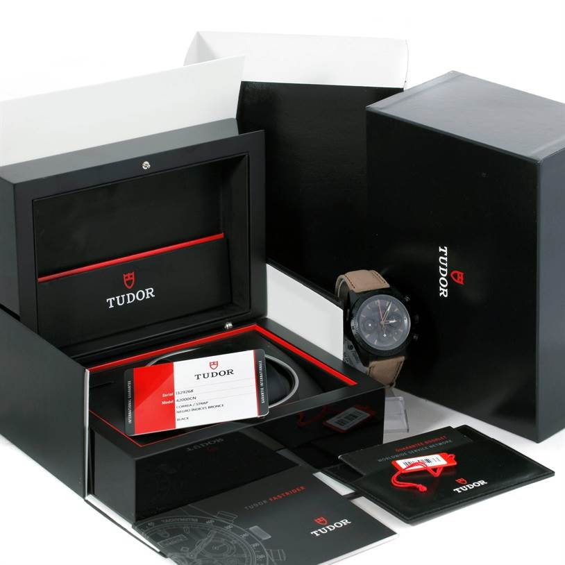 9122 Tudor Fastrider Blackshield Alcantara Strap Ceramic Watch 42000CN Unworn SwissWatchExpo