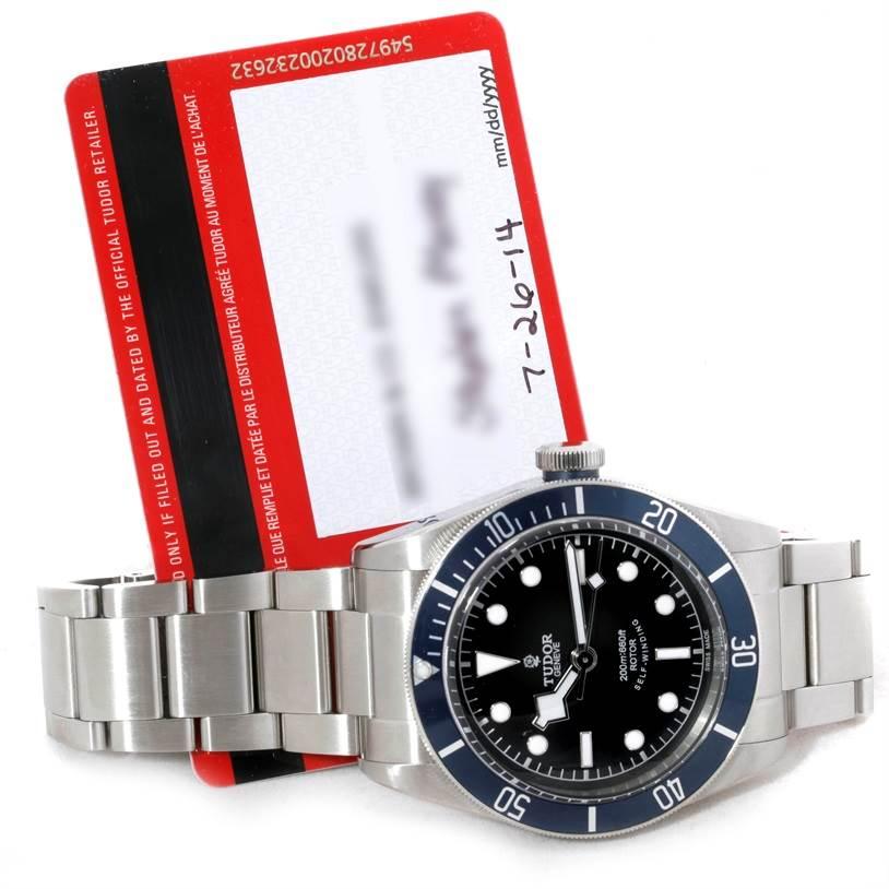 9282 Tudor Heritage Black Bay Blue Bezel Steel Watch 79220 SwissWatchExpo
