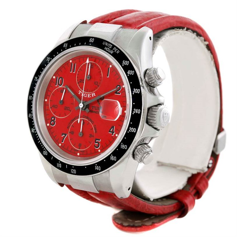 Tudor Tiger Prince Date Chronograph Red Dial Steel Watch 79260 SwissWatchExpo