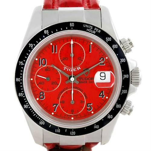 Photo of Tudor Tiger Prince Date Chronograph Red Dial Steel Watch 79260