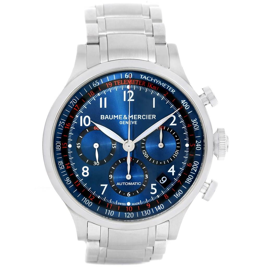 15253 Baume Mercier Capeland Blue Dial Chronograph Steel Mens Watch 10066 SwissWatchExpo