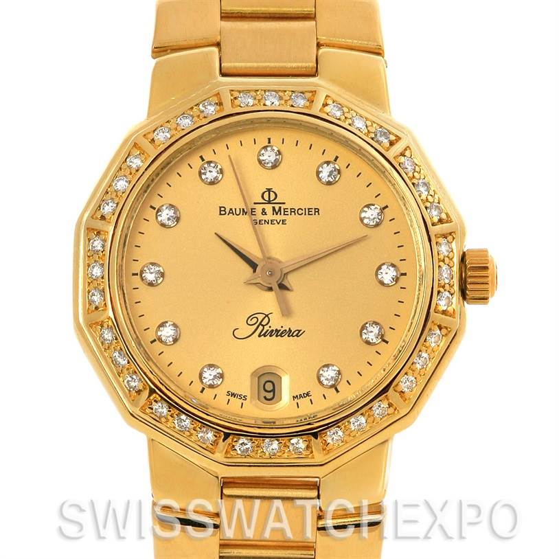 Baume Mercier Riviera Ladies 18K Gold Diamond Watch 83212 SwissWatchExpo