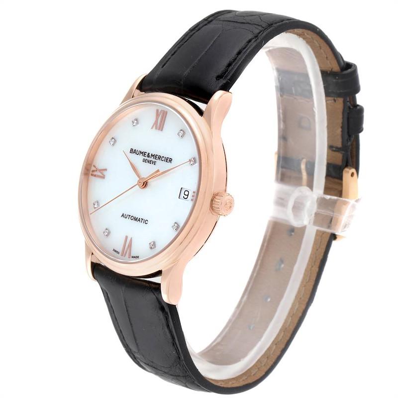 Baume Mercier Classima Rose Gold Mother of Pearl Diamond Watch 10077 SwissWatchExpo