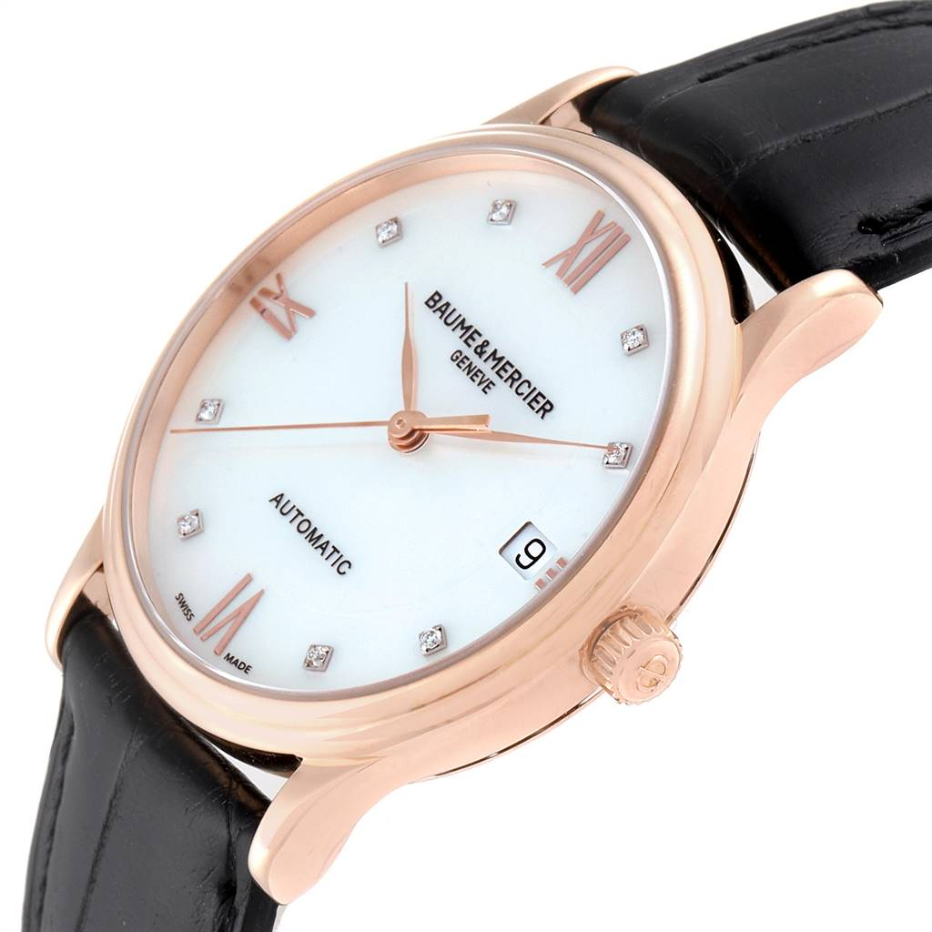 Baume Mercier Classima Rose Gold Mother of Pearl Diamond Watch 10077 SwissWatchExpo