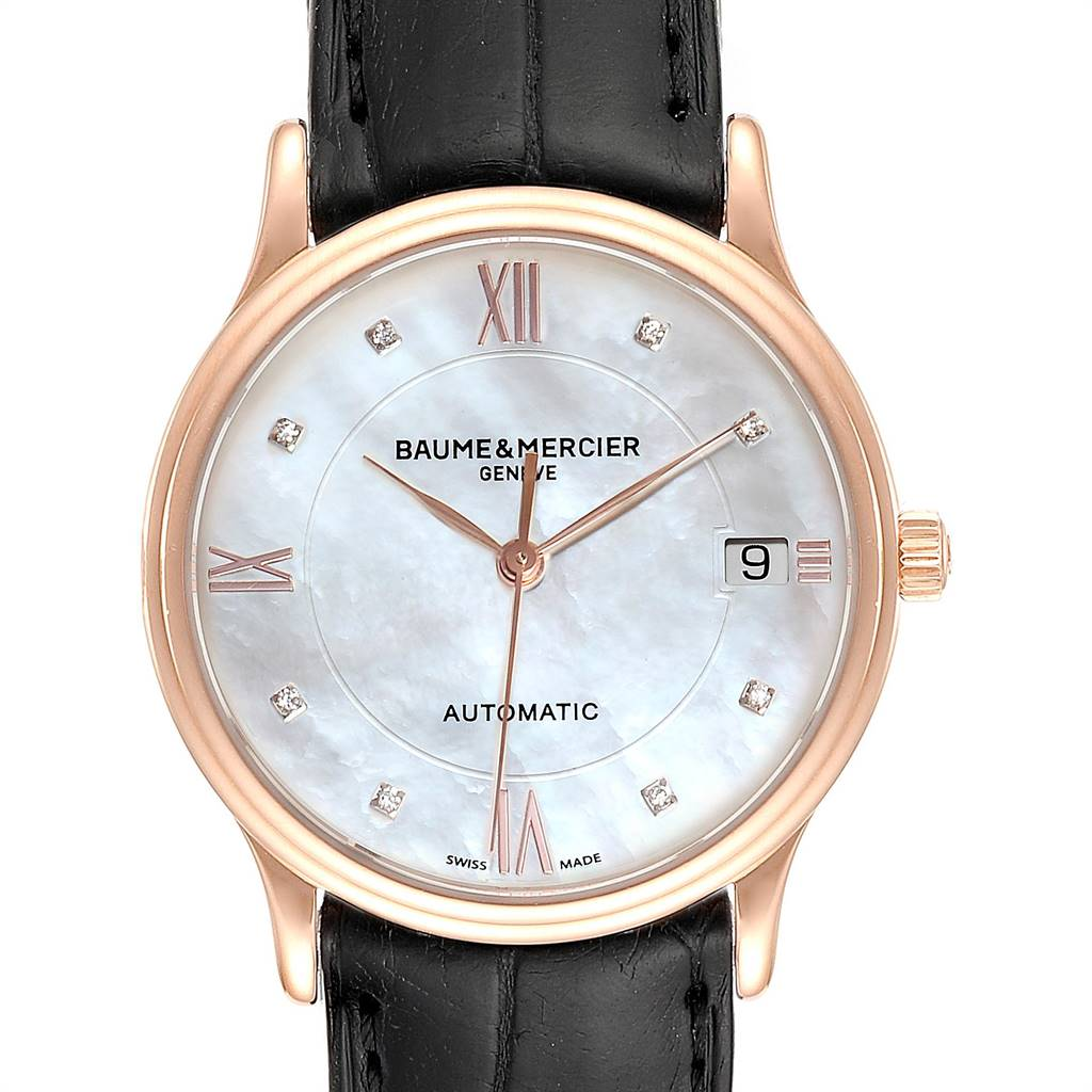 Photo of Baume Mercier Classima Rose Gold Mother of Pearl Diamond Watch 10077