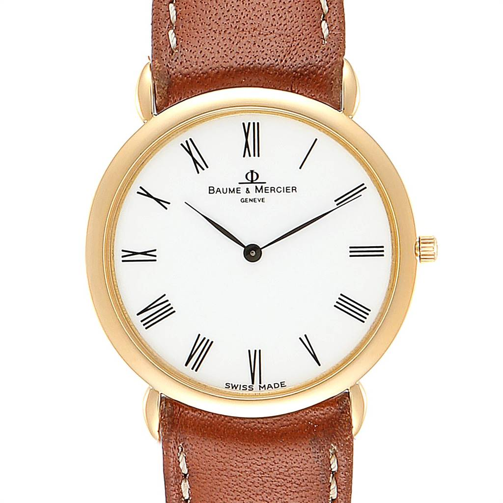 25479 Baume Mercier Classima Ultra Thin Yellow Gold Quartz Mens Watch 15606 SwissWatchExpo