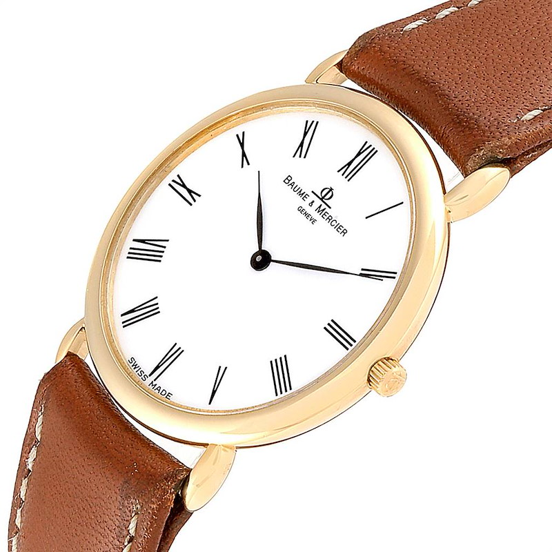Baume Mercier Classima Ultra Thin Yellow Gold Quartz Mens Watch 15606 SwissWatchExpo