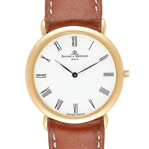 Baume Mercier Classima Ultra Thin Yellow Gold Quartz Mens Watch 15606