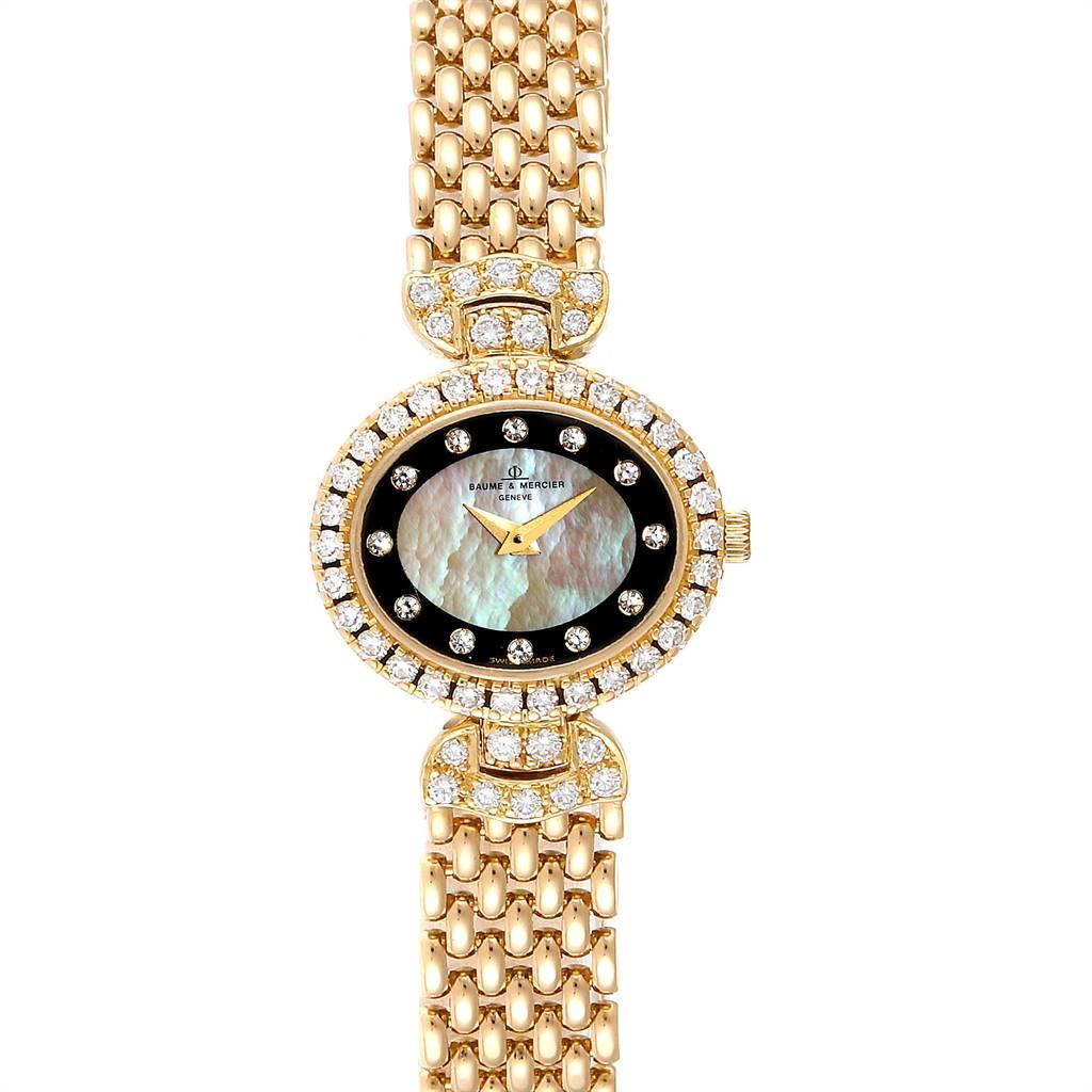 Baume Mercier Yellow Gold MOP Diamond Vintage Cocktail Ladies Watch 18523 SwissWatchExpo