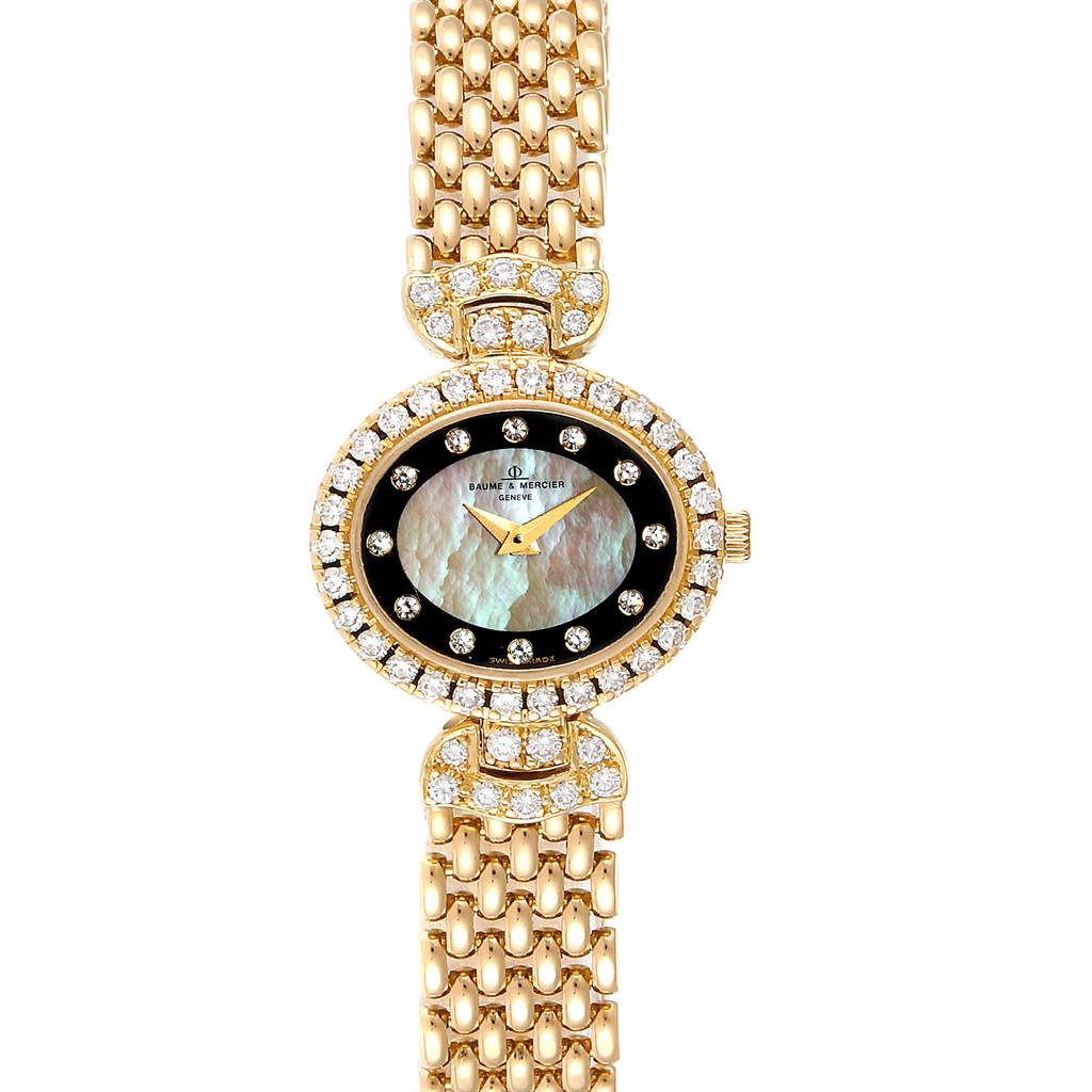 12085 Baumer Mercier Yellow Gold MOP Diamond Vintage Cocktail Ladies Watch 18523 SwissWatchExpo