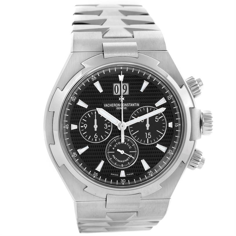 10479 Vacheron Constantin Overseas Chronograph Black Dial Watch 49150 Unworn SwissWatchExpo