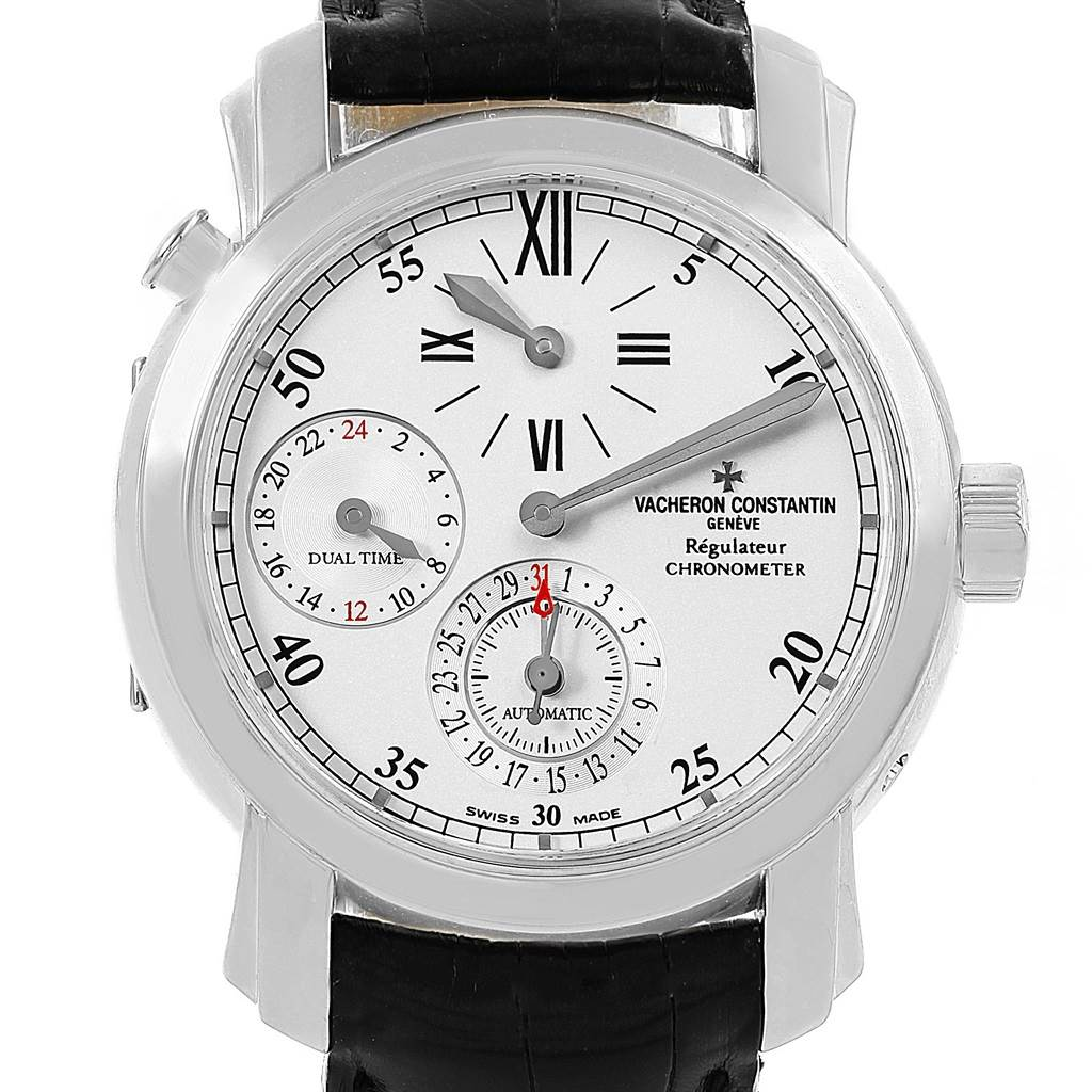 18031 Vacheron Constantin Malte Regulateur Dual Time White Gold Watch 42005 SwissWatchExpo