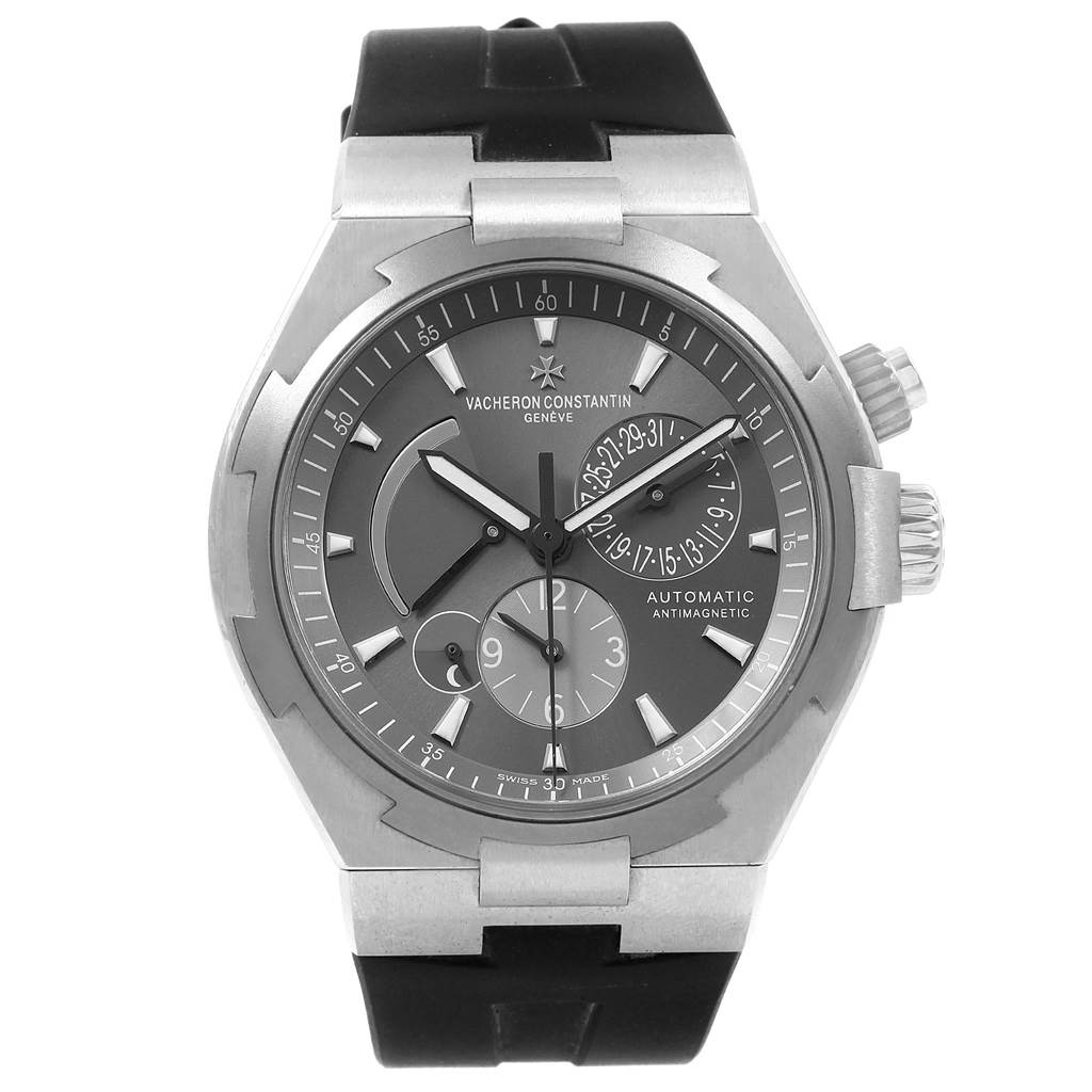 Vacheron Constantin Overseas Dual Time Grey Dial Steel Mens Watch 47450 SwissWatchExpo