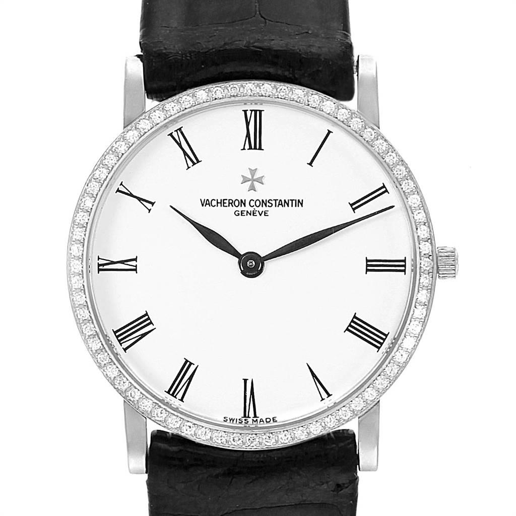 22390 Vacheron Constantin Patrimony White Gold Diamond Ultra Thin Watch 33093 SwissWatchExpo