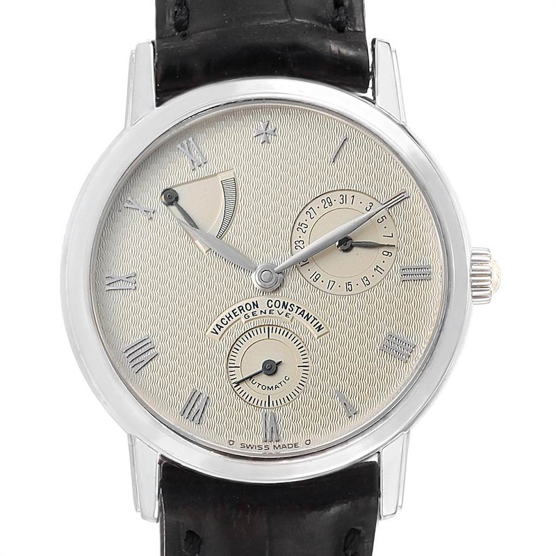 Vacheron Constantin Patrimony Date Power Reserve White Gold Watch 47200 SwissWatchExpo