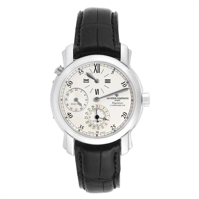 Vacheron Constantin Malte Dual Time Regulator White Gold Mens Watch 42005 SwissWatchExpo