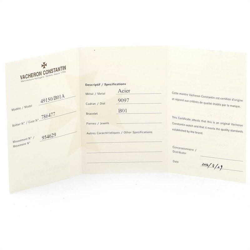Vacheron Constantin Overseas Steel Mens Watch 49150 Box Papers SwissWatchExpo