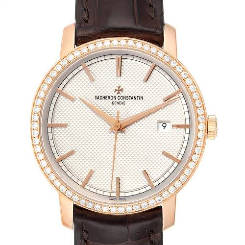 Vacheron Constantin Traditionnelle Rose Gold Diamond Mens Watch 85520