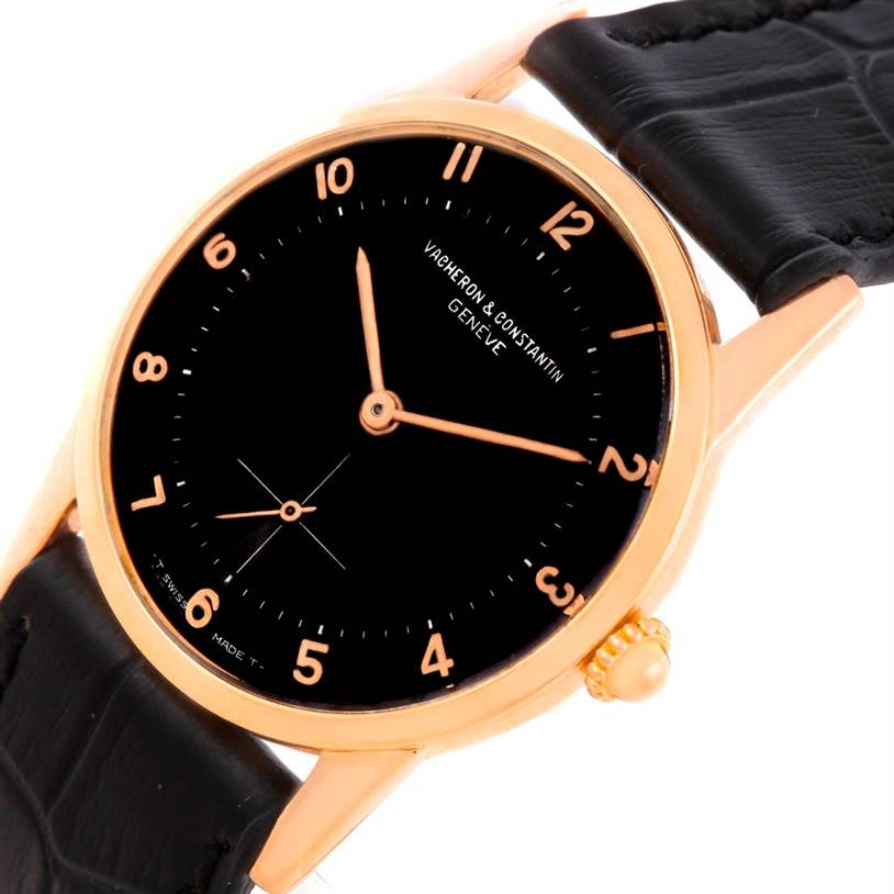 6853 Vacheron Constantin Vintage 18K Rose Gold Black Dial Watch SwissWatchExpo
