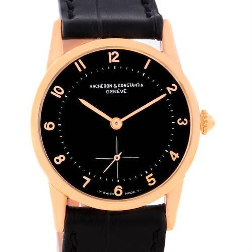 Photo of Vacheron Constantin Vintage 18K Rose Gold Black Dial Watch