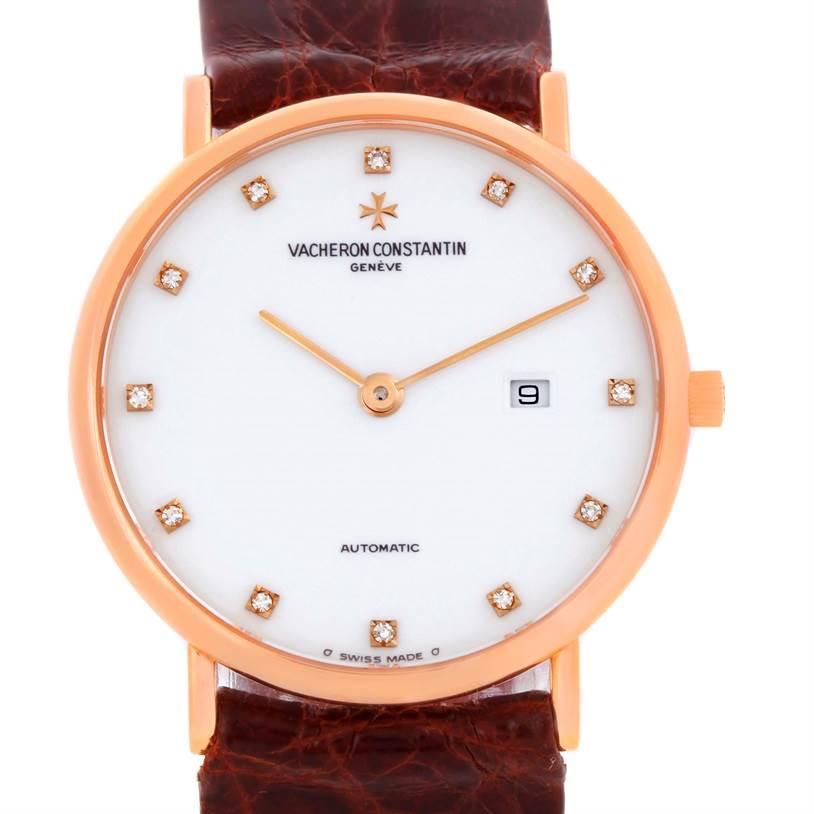 10003 Vacheron Constantin Patrimony 18K Rose Gold Diamond Watch 39005 SwissWatchExpo