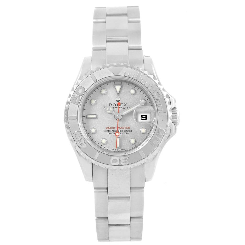 20943 Rolex Yachtmaster 29mm Steel Platinum Ladies Watch 169622 Box SwissWatchExpo
