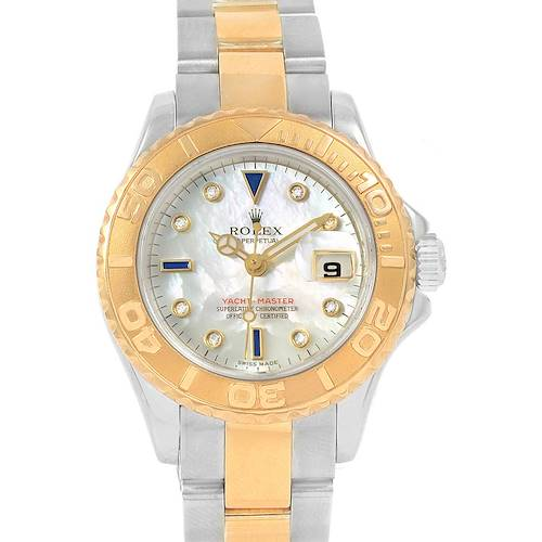 Photo of Rolex Yachtmaster 29 Yellow Gold Steel MOP Sapphire Ladies Watch 169623