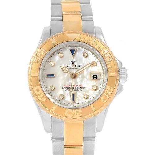 Photo of Rolex Yachtmaster 18K Yellow Gold Steel MOP Sapphire Ladies Watch 169623