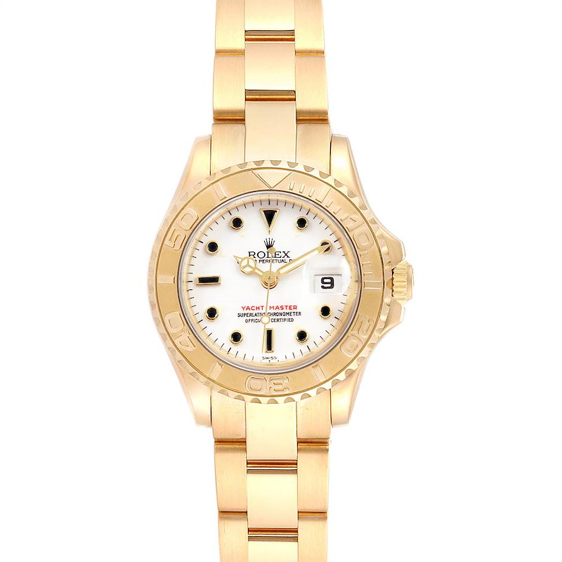 Rolex Yachtmaster 29 Yellow Gold Ladies Watch 169628 Box Papers SwissWatchExpo