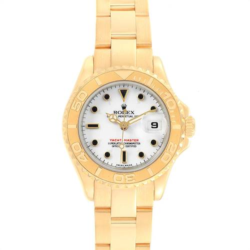 Photo of Rolex Yachtmaster 29 Yellow Gold White Dial Ladies Watch 169628