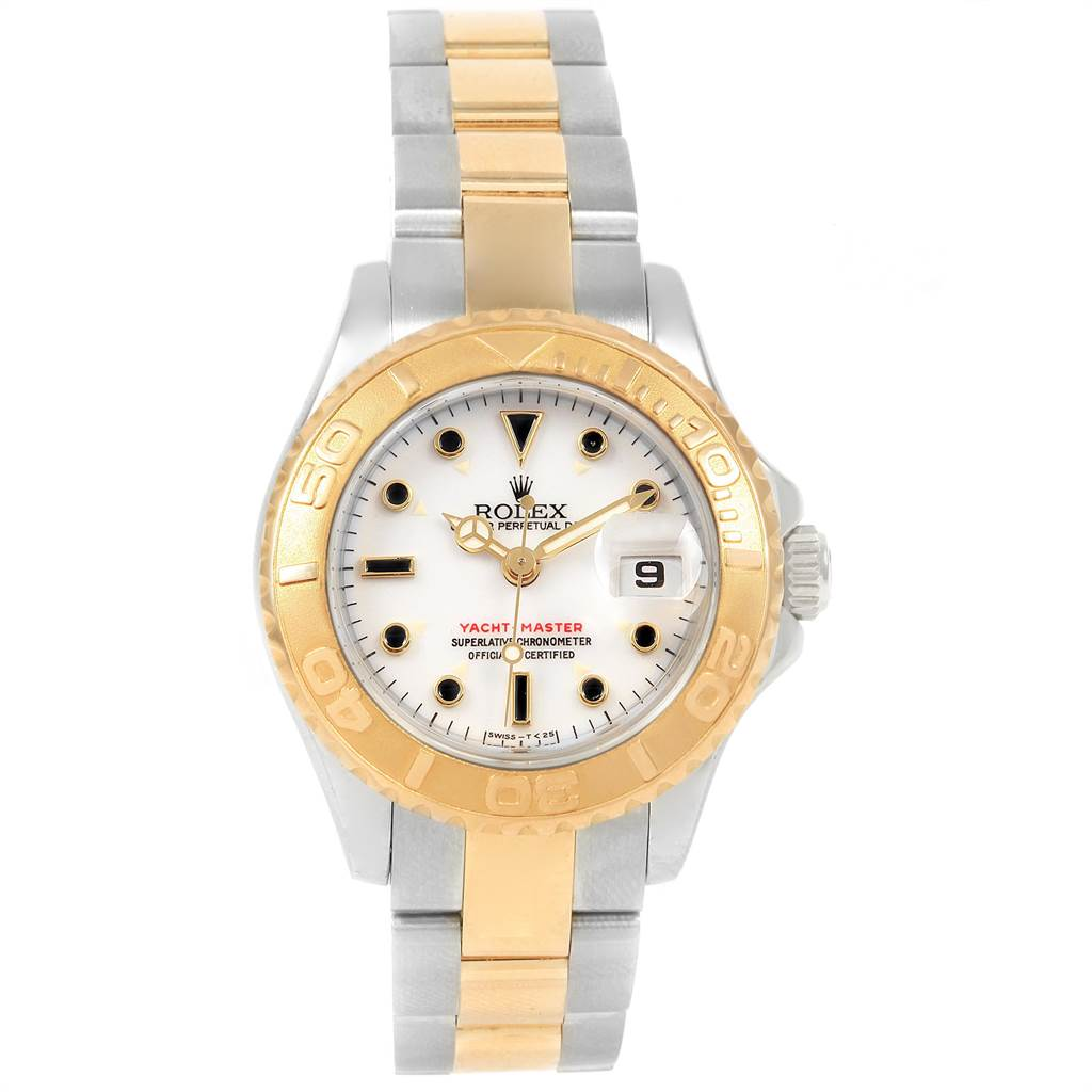 23070 Rolex Yachtmaster 29 Steel Yellow Gold White Dial Ladies Watch 169623 SwissWatchExpo