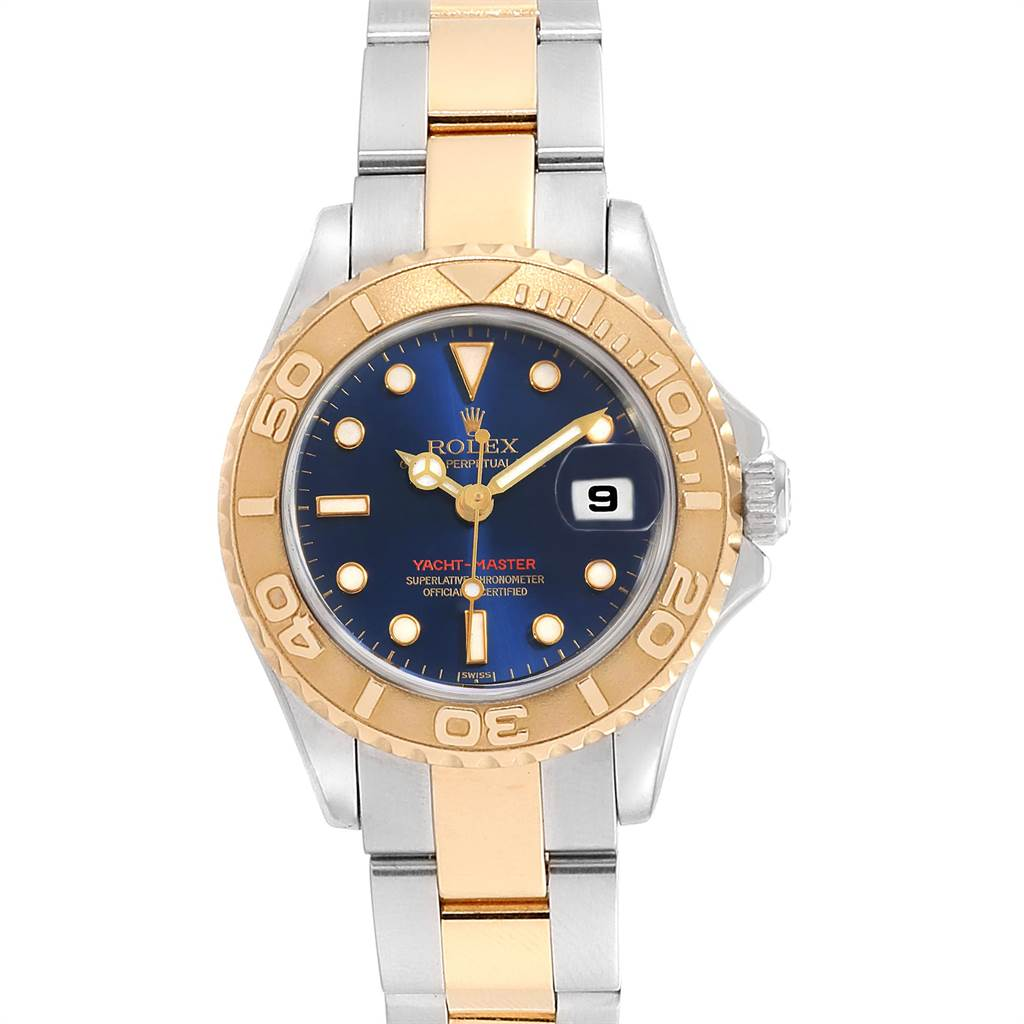 23370 Rolex Yachtmaster 29 Steel Yellow Gold Blue Dial Ladies Watch 169623 SwissWatchExpo