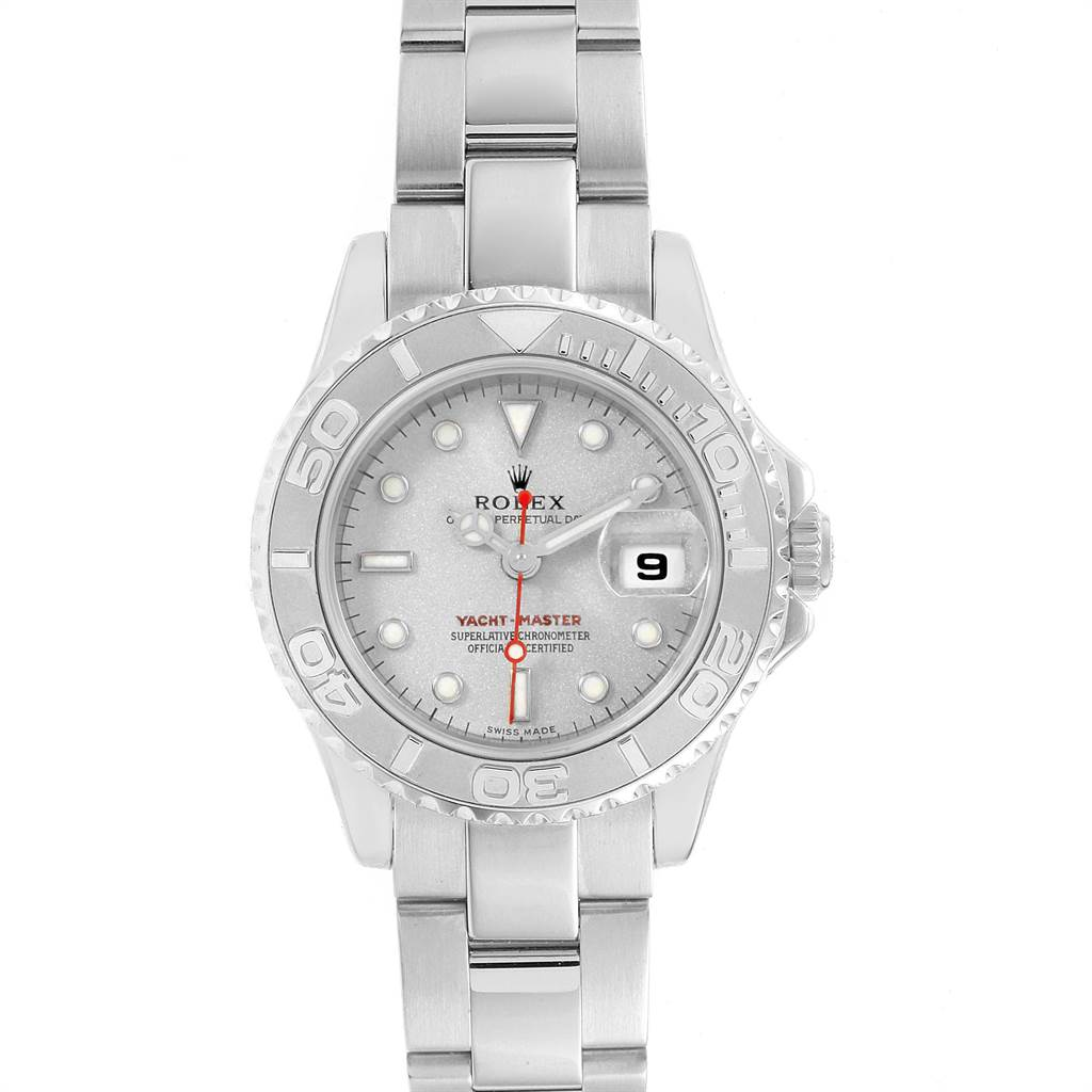23132 Rolex Yachtmaster 29 Steel Platinum Ladies Watch 169622 Box SwissWatchExpo