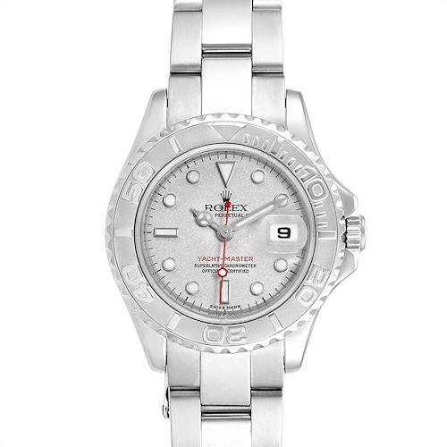 Photo of Rolex Yachtmaster 29 Red Hand Steel Platinum Ladies Watch 169622 Box