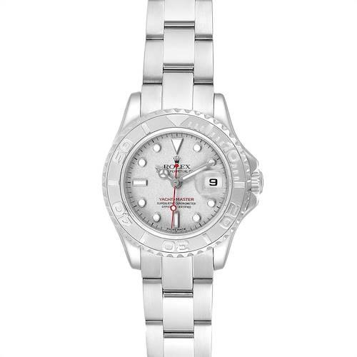 Photo of Rolex Yachtmaster 29 Platinum Dial Bezel Ladies Watch 169622 Box