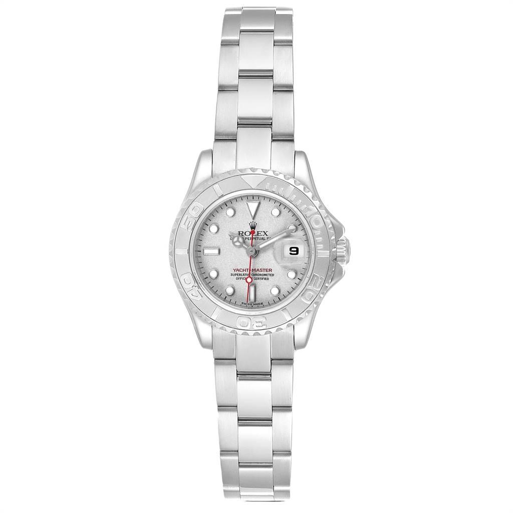 23934 Rolex Yachtmaster 29 Red Hand Steel Platinum Ladies Watch 169622 Box SwissWatchExpo