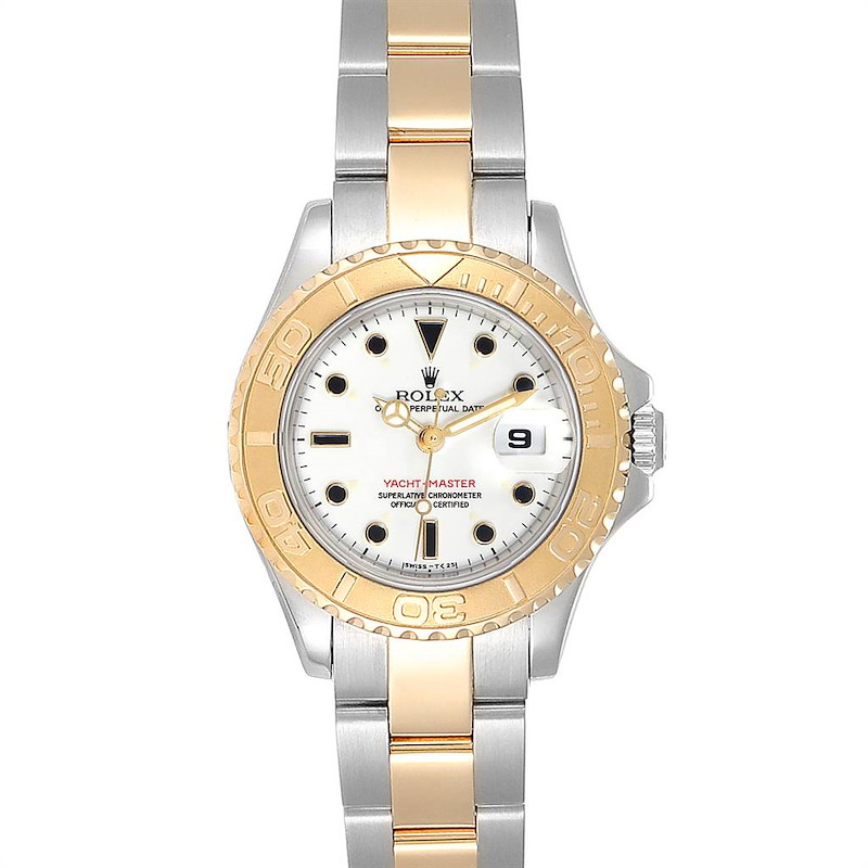 Rolex Yachtmaster Steel Yellow Gold White Dial Ladies Watch 69623 SwissWatchExpo