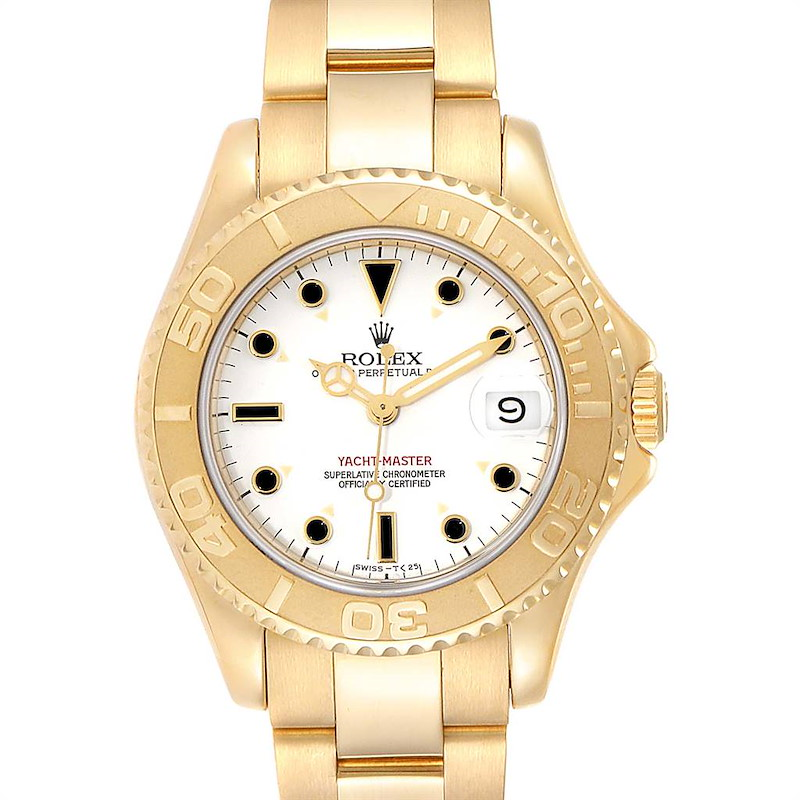Rolex Yachtmaster Midsize 18K Yellow Gold White Dial Unisex Watch 68628 SwissWatchExpo