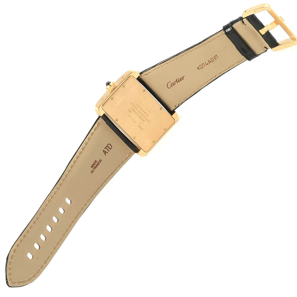 17852 Cartier Tank Divan Large Yellow Gold Black Strap Watch W6300856 SwissWatchExpo