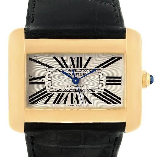Photo of Cartier Tank Divan Large Yellow Gold Black Strap Watch W6300856