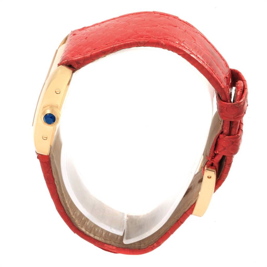 Cartier Tank Divan Yellow Gold Red Strap Ladies Watch W6300356 SwissWatchExpo