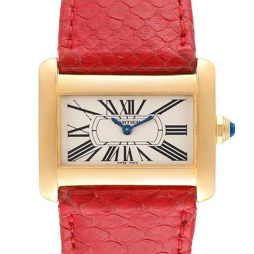 Photo of Cartier Tank Divan Yellow Gold Red Strap Ladies Watch W6300356