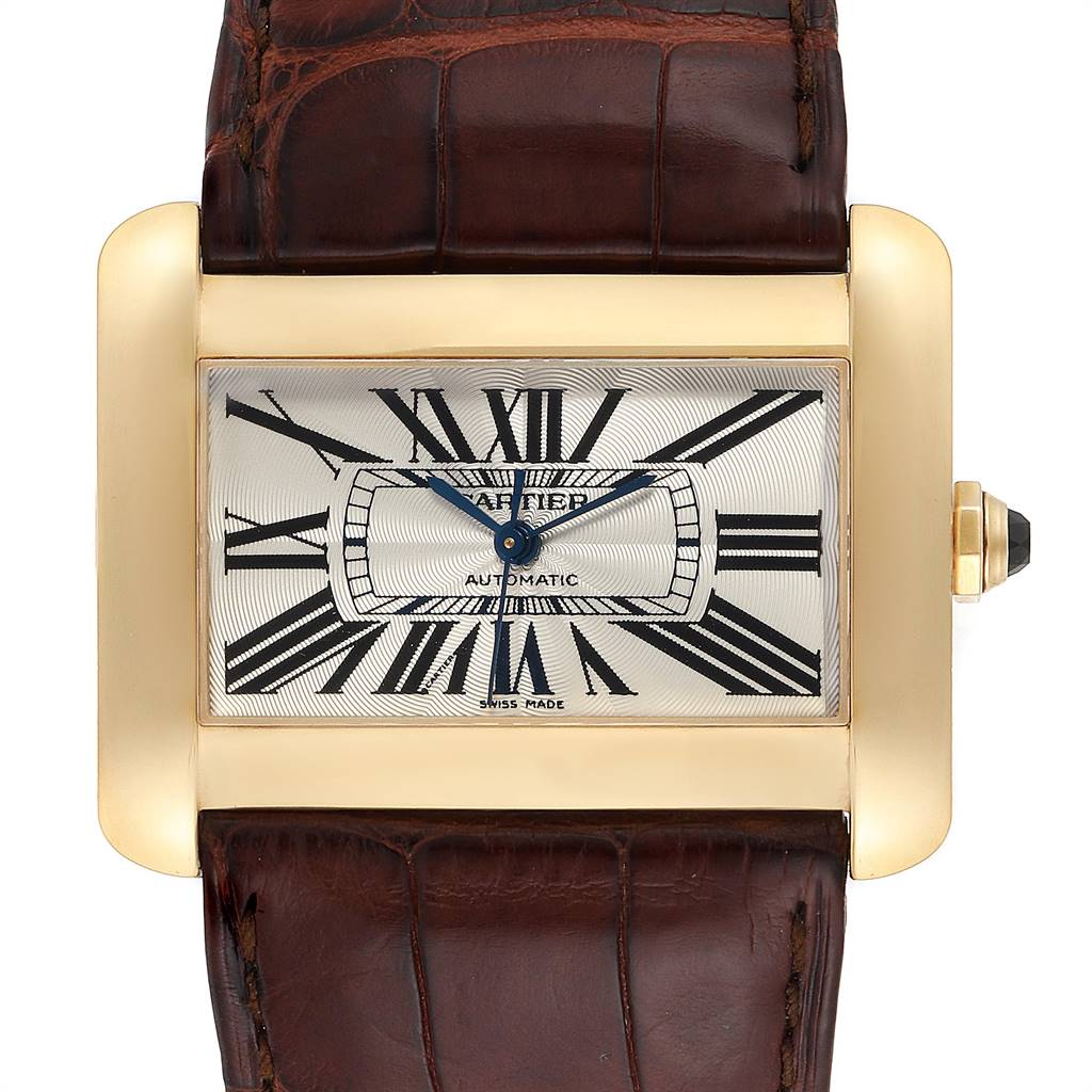 Cartier Tank Divan Large Yellow Gold Ladies Watch W6300856 Box Papers